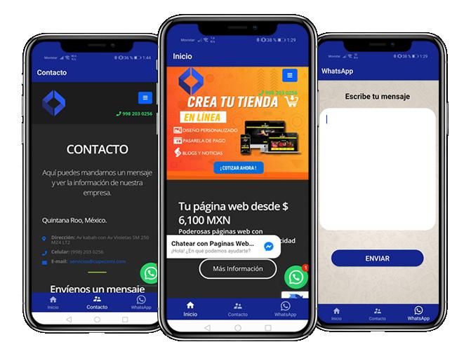 Adapta tu sitio web a una aplicación móvil de Android o iOS en Cancún